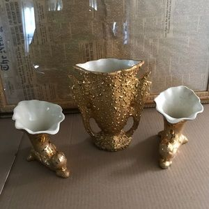 Vintage set of (3) 24 k gold hand painted VASES.